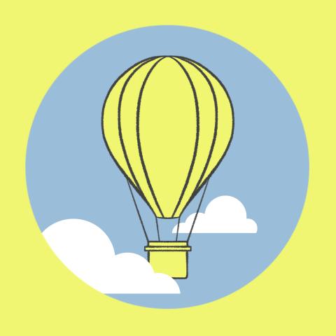 animatie van luchtballon geel groweveryday